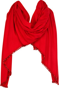 Theresa Wrap - predominant colour: true red; occasions: evening, occasion, holiday; type of pattern: light; style: wrap; size: large; material: fabric; embellishment: beading; pattern: plain