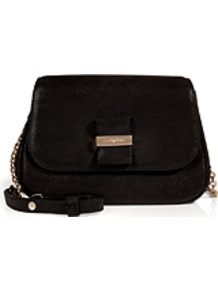 Leather Shoulder Bag In Black - predominant colour: black; occasions: casual, evening, work; type of pattern: standard; style: shoulder; length: across body/long; size: standard; material: leather; pattern: plain; finish: plain