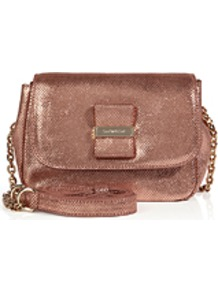 Leather Crossbody Bag In Pink Champagne - occasions: casual, evening, occasion, holiday; type of pattern: standard; style: clutch; length: across body/long; size: small; material: leather; pattern: plain; trends: metallics; finish: metallic; predominant colour: dusky pink
