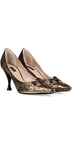 Glitter Pumps In Warm Gold - predominant colour: gold; occasions: evening, occasion; material: leather; heel height: mid; embellishment: glitter; heel: stiletto; toe: pointed toe; style: courts; trends: metallics; finish: metallic; pattern: plain