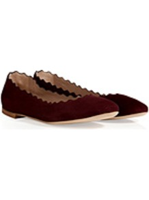 Suede Flats In Plum - predominant colour: burgundy; occasions: casual, work; material: suede; heel height: flat; toe: round toe; style: ballerinas / pumps; finish: plain; pattern: plain