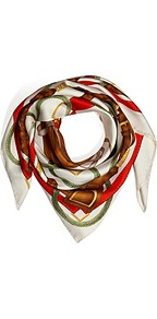 Silk Twill Saddle Print Scarf In Ivory/Red - predominant colour: white; secondary colour: burgundy; occasions: casual, evening, work, occasion, holiday; type of pattern: heavy; style: square; size: standard; material: silk; trends: statement prints; pattern: patterned/print