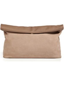 Suede/Leather Annette Clutch In Sand - secondary colour: taupe; predominant colour: stone; occasions: casual, evening, occasion, holiday; type of pattern: standard; style: clutch; length: hand carry; size: standard; material: suede; finish: plain; pattern: colourblock