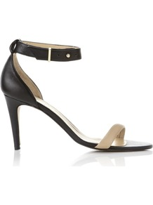 Cafe Royal Two Part Sandal - secondary colour: nude; predominant colour: black; occasions: evening, occasion; material: leather; heel height: mid; ankle detail: ankle strap; heel: stiletto; toe: open toe/peeptoe; style: strappy; finish: plain; pattern: colourblock