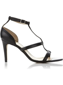 Tbar Monza Sandal - predominant colour: black; occasions: evening, work, occasion; material: leather; heel height: mid; ankle detail: ankle strap; heel: stiletto; toe: open toe/peeptoe; style: strappy; finish: plain; pattern: plain
