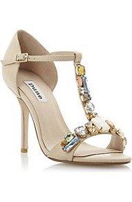 Haylee Multi Jewelled High Heel Sandal - predominant colour: nude; occasions: evening, occasion, holiday; material: leather; heel height: high; embellishment: jewels; ankle detail: ankle strap; heel: stiletto; toe: open toe/peeptoe; style: standard; finish: plain; pattern: plain