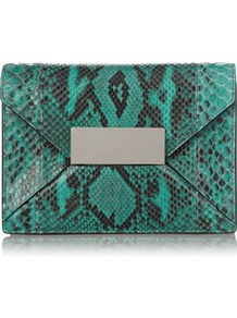 Python Envelope Clutch - predominant colour: teal; secondary colour: black; occasions: evening, occasion; type of pattern: standard; style: clutch; length: hand carry; size: standard; material: leather; pattern: animal print; finish: plain; embellishment: chain/metal
