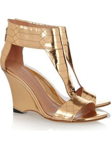 Metallic Leather Wedge Sandals - predominant colour: gold; occasions: evening, occasion, holiday; material: leather; heel height: high; embellishment: zips; ankle detail: ankle strap; heel: wedge; toe: open toe/peeptoe; style: standard; trends: metallics; finish: metallic; pattern: plain