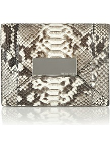 Python Clutch - occasions: evening, occasion; predominant colour: multicoloured; type of pattern: standard; style: clutch; length: hand carry; size: standard; material: animal skin; pattern: animal print; finish: plain
