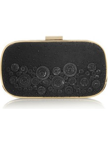 Marano Beaded Washed Satin And Leather Box Clutch - predominant colour: black; occasions: evening, occasion; type of pattern: standard; style: clutch; length: hand carry; size: mini; material: satin; embellishment: applique; pattern: plain; finish: plain