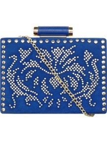 Blue Stud Box Clutch - predominant colour: royal blue; secondary colour: gold; occasions: evening, occasion; style: clutch; length: hand carry; size: small; material: suede; embellishment: studs; finish: plain; pattern: patterned/print