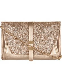 Kardashian Kollection Gold Glitter Clutch - predominant colour: gold; occasions: evening, occasion; type of pattern: standard; style: clutch; length: across body/long; size: mini; material: faux leather; embellishment: glitter; pattern: plain; trends: metallics; finish: metallic