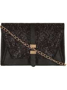 Kardashian Kollection Black Glitter Clutch - predominant colour: black; occasions: evening, occasion; type of pattern: standard; style: clutch; length: hand carry; size: standard; material: faux leather; embellishment: glitter; pattern: plain; trends: metallics; finish: plain