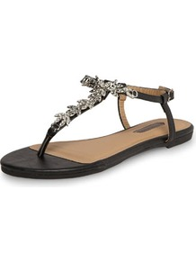 Black Diamante Flower Sandals - predominant colour: black; occasions: casual, evening, holiday; material: faux leather; heel height: flat; embellishment: crystals; ankle detail: ankle strap; heel: block; toe: toe thongs; style: flip flops / toe post; finish: plain; pattern: plain