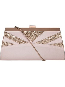 Dp Occasion Pink Glitter Bag - predominant colour: blush; secondary colour: gold; occasions: evening, occasion; type of pattern: light; style: clutch; length: hand carry; size: small; material: fabric; embellishment: glitter; finish: plain; pattern: colourblock