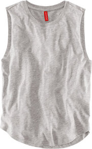 Top - neckline: round neck; pattern: plain; sleeve style: sleeveless; style: vest top; predominant colour: light grey; occasions: casual, holiday; length: standard; fibres: cotton - 100%; fit: straight cut; hip detail: dip hem; sleeve length: sleeveless; texture group: cotton feel fabrics; pattern type: fabric