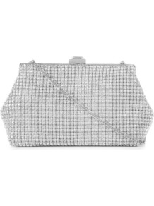 Mling Diamante Clutch - predominant colour: silver; occasions: evening, occasion; type of pattern: light; style: clutch; length: hand carry; size: mini; embellishment: crystals; pattern: plain; trends: metallics; finish: metallic