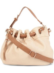 Dollita Pouchy Shoulder Bag - secondary colour: camel; predominant colour: nude; occasions: casual, work; type of pattern: light; style: onion bag; length: shoulder (tucks under arm); size: standard; material: leather; embellishment: tassels; finish: plain; pattern: colourblock