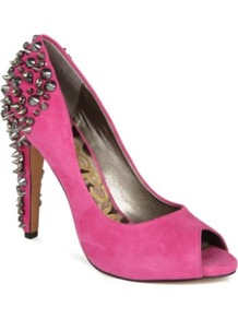 Lorissa Embellished Suede Courts - predominant colour: hot pink; secondary colour: charcoal; occasions: evening, occasion; material: suede; heel height: high; embellishment: studs; heel: standard; toe: open toe/peeptoe; style: courts; trends: metallics; finish: fluorescent; pattern: plain