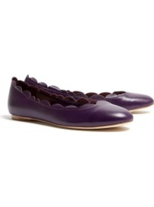 Mia Carina Scallop Ballet Flats - predominant colour: aubergine; occasions: casual, work; material: leather; heel height: flat; toe: round toe; style: ballerinas / pumps; finish: plain; pattern: plain