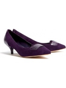 Pointed Teacup Loafers - predominant colour: aubergine; occasions: evening, work, occasion; material: leather; heel height: mid; heel: kitten; toe: pointed toe; style: courts; finish: plain; pattern: plain