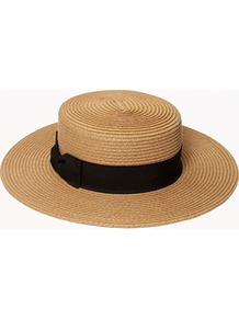 Pleated Boater Hat - predominant colour: camel; secondary colour: black; occasions: casual, holiday; style: brimmed; size: standard; material: macrame/raffia/straw; embellishment: ribbon; pattern: plain