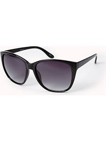 F0345 D Frame Sunglasses - predominant colour: black; occasions: casual, holiday; style: d frame; size: standard; material: plastic/rubber; pattern: plain; finish: plain
