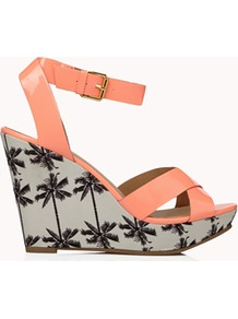 Faux Patent Palm Tree Wedges - predominant colour: coral; secondary colour: mid grey; occasions: casual, evening, holiday; material: faux leather; heel height: high; ankle detail: ankle strap; heel: wedge; toe: open toe/peeptoe; style: strappy; finish: patent; pattern: patterned/print