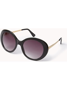 F8981 Retro Round Sunglasses - secondary colour: gold; predominant colour: black; occasions: casual, holiday; style: round; size: large; material: plastic/rubber; finish: plain; pattern: colourblock