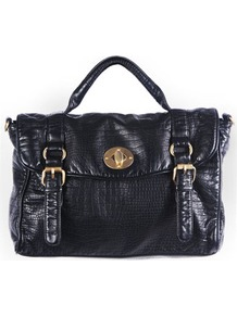Faux Croc Cross Body Bag - predominant colour: black; occasions: casual, work; type of pattern: light; style: satchel; length: handle; size: standard; material: faux leather; pattern: animal print; finish: plain