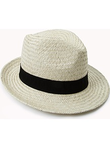 Woven Fedora - predominant colour: white; secondary colour: black; occasions: casual, holiday; type of pattern: light; style: fedora; size: standard; material: macrame/raffia/straw; embellishment: ribbon; pattern: plain