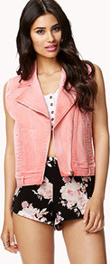 Colored Denim Moto Vest - pattern: plain; sleeve style: sleeveless; style: biker; collar: asymmetric biker; fit: slim fit; predominant colour: pink; occasions: casual, holiday; length: standard; fibres: cotton - stretch; sleeve length: sleeveless; texture group: denim; collar break: medium; pattern type: fabric