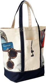 Printed Beach Tote - predominant colour: ivory; secondary colour: navy; occasions: casual, holiday; type of pattern: standard; style: tote; length: handle; size: standard; material: fabric; finish: plain; pattern: patterned/print