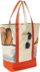 Printed Beach Tote - secondary colour: ivory; predominant colour: bright orange; occasions: casual, holiday; type of pattern: standard; style: tote; length: handle; size: standard; material: fabric; finish: plain; pattern: patterned/print