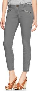 1969 Zipper Legging Skimmer Jeans - style: skinny leg; pattern: plain; waist: mid/regular rise; predominant colour: mid grey; occasions: casual; length: ankle length; fibres: cotton - stretch; texture group: denim; pattern type: fabric