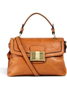 Alice Top Handle Satchel Bag - predominant colour: tan; occasions: casual, work; style: messenger; length: across body/long; size: standard; material: faux leather; pattern: plain; finish: plain