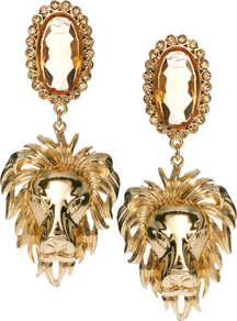 Regal Lion Drop Earring - predominant colour: gold; occasions: evening, occasion; style: drop; length: long; size: large/oversized; material: chain/metal; fastening: pierced; finish: metallic; embellishment: jewels