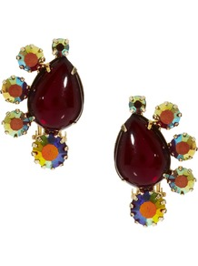 Cluster Clip On Earrings - predominant colour: burgundy; occasions: evening; style: stud; length: short; size: large/oversized; material: chain/metal; fastening: pierced; finish: plain; embellishment: jewels