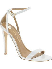 Barely There Sandals - predominant colour: white; occasions: evening, occasion, holiday; material: leather; heel height: high; ankle detail: ankle strap; heel: stiletto; toe: open toe/peeptoe; style: strappy; finish: plain; pattern: plain