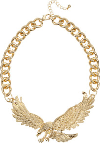 Eagle Necklace - predominant colour: gold; occasions: casual, evening; style: standard; length: choker; size: large/oversized; material: chain/metal; finish: metallic; embellishment: chain/metal