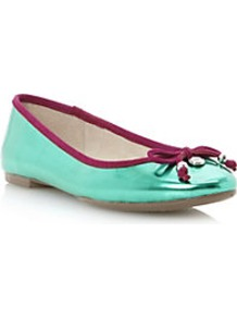Magnify Mirrored Bow Trim Ballerina - secondary colour: burgundy; predominant colour: mint green; occasions: casual; material: leather; heel height: flat; toe: round toe; style: ballerinas / pumps; finish: metallic; pattern: plain