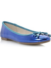 Magnify Mirrored Bow Trim Ballerina - predominant colour: royal blue; secondary colour: pale blue; occasions: casual; material: leather; heel height: flat; toe: round toe; style: ballerinas / pumps; finish: metallic; pattern: plain