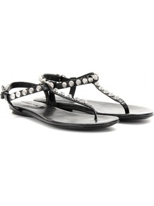 Giant Studded Leather Sandals - secondary colour: silver; predominant colour: black; occasions: casual, holiday; material: leather; heel height: flat; embellishment: studs; ankle detail: ankle strap; heel: standard; toe: toe thongs; style: flip flops / toe post; finish: plain; pattern: plain