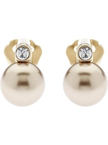 Pearl And Crystal Gold Plated Clip Earrings, Bronze - predominant colour: ivory; secondary colour: gold; occasions: casual, evening, work, occasion; style: stud; length: short; size: standard; material: chain/metal; fastening: pierced; finish: plain; embellishment: pearls