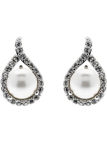 Teardrop Pearl And Swarovski Crystal Stud Earrings, White - predominant colour: ivory; secondary colour: silver; occasions: evening, work, occasion; style: stud; length: short; size: small; material: chain/metal; fastening: pierced; finish: plain; embellishment: pearls