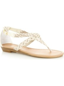 Cream Crochet Sandals - predominant colour: ivory; secondary colour: silver; occasions: casual, holiday; material: faux leather; heel height: flat; ankle detail: ankle strap; heel: block; toe: toe thongs; style: standard; finish: plain; pattern: plain