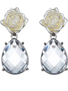 Camellia Earring - secondary colour: ivory; predominant colour: light grey; occasions: evening, work, occasion; style: drop; length: mid; size: small; material: chain/metal; fastening: pierced; finish: plain; embellishment: crystals