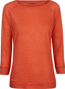 Linen Jersey Raglan Top - pattern: plain; predominant colour: bright orange; occasions: casual; length: standard; style: top; fibres: linen - 100%; fit: body skimming; neckline: crew; sleeve length: 3/4 length; sleeve style: standard; texture group: linen; pattern type: fabric