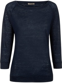 Linen Jersey Raglan Top - pattern: plain; predominant colour: black; occasions: casual; length: standard; style: top; fibres: linen - 100%; fit: body skimming; neckline: crew; sleeve length: 3/4 length; sleeve style: standard; texture group: linen; pattern type: fabric