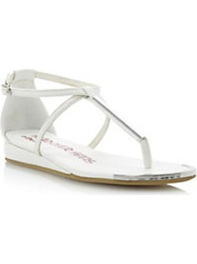 Kourtnie Metal Detail Toe Post Sandal - predominant colour: white; secondary colour: silver; occasions: casual, holiday; material: leather; heel height: mid; heel: wedge; toe: toe thongs; style: flip flops / toe post; finish: plain; pattern: plain; embellishment: chain/metal